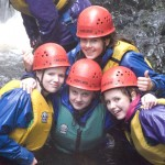 Elise, Lucy, Lauren and Ellie appear happy to be all wet at the Afon Ddu gorge