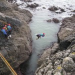 Tyrolean traverse at Cable Bay