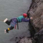Melissa tackles the Tyrolean traverse; army style